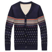Winter fashion casual men's double jacquard sweater thicker section warm V-neck sweater for men size M-5XL
