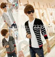 2014 New Fashion brand Men stripe Cardigan sweater South Korea Cultivate one's morality v-neck sweaters knit Men's Cardigan coat