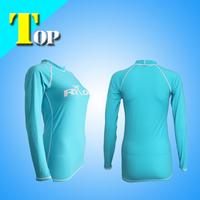 2014 Blue Girls fashion nylon lycra surfing rash guards rash shirt fabric  new original brand  Sports clothes free shipping