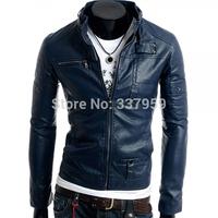 New Sexy Mens Slim Fit PU Leather Long Sleeve Stand Collar Jacket Coat Man Autumn Winter Motor Outerwear Windbreaker Coats M-XXL