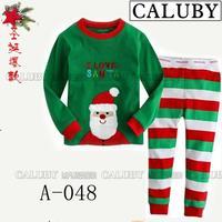 2014 autumn / winter Christmas Frozen Boys / Girls 2-7T BABY & kids Clothing 2 piece suit Pyjamas Santa Claus Cotton Homewear048