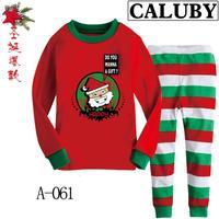 2014 autumn / winter Christmas Frozen Boys / Girls 2-7T BABY  kids Clothing 2 piece suit Pyjamas stripe Cotton Homewear 061