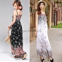 Summer Dress 2014 New Chiffon Casual Women Dresses Flower Printed Spaghetti Strap White Black Color
