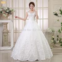 The new 2015 ball gown wedding dress Qi Korean fashion straps lace wedding dresses bride vestidos de noiva casamento 442
