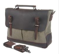 2014 New Canvas Bag fashion vintage handbag shoulder bag men canvas bag briefcase genuine leather  free shipping