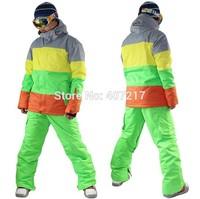 2014 mens ski jacket color matching snowboard jacket skiing jacket for men skiwear waterproof breathable warm free ship by EMS