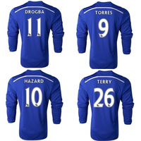Top thailand 2015 Chelsea long sleeve jersey 14 15 Chelsea LS football shirts Diego Costa Fabregas Torres Hazard jersey freeship