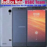 Original New Xiaomi RedRice Note Redmi Note WCDMA Hongmi Note MTK6592 Octa Core 1.7GHz 5.5 inch 1280x720 pixels 2G 8GB 13.0MP