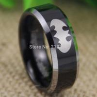 Free Shipping USA UK CANADA RUSSIA Brazil Hot Selling 8MM Superhero Batman Black Top Silver Bevel Men's Tungsten Wedding Ring