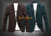 2014 New Floral & Plaid Men Suit Jackets Blazer 2014 New Arrival Designer Brand Casual Autumn Fashion Slim Fit Jackets  X977