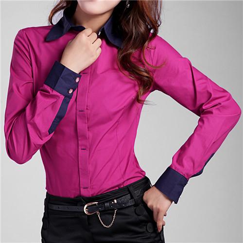 2015 New Shirt Women Tops 5XL 6XL Plus Size Solid Button Down Long Sleeve Formal Tunic Casual Blouse Top Blusas Feminina #B39(China (Mainland))