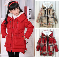 2014 new Winter warm baby girls casual coats outerwear clothing long fur Cashmere brand Children down jackets roupas meninas