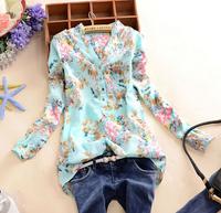 Blusas Femininas  2014 Summer New Korean Bird Print Shirt Female V-Neck  Long-Sleeved Shirt Slim Blouse