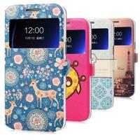 High Quality Cartoon Window Design PU Flip Cover case for Samsung Galaxy Grand2 Grand 2 G7106 Phone shell free shipping