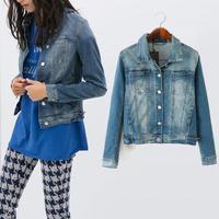 L3005 Woman denim Jacket Fall 2014 new European slim long sleeve denim jacket women denim outwear tops  women's clothing