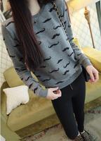 2014 new women's winter fleece sweater Korean casual round neck long sleeve shirts sweatshirt 851908