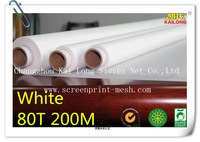 "Free Shipping 5 meters (5 yards) White 80T 200mesh-48 width:127cm(50"") Polyester Screen Printing Mesh PW Low Elasticity"