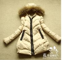 Original Italy brand D3N 2014 fashion long down coat women winter reccoon fur collar thicken quality zipper women winter coat