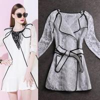 Free Shipping 2014 new fashion beautiful elegant black binding medium-long three quarter sleeve thin white lace trench