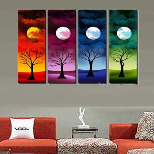 4pcs Hand painted Oil Painting canva Moon Night Abstract Tree NO Frame AAA(China (Mainland))