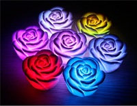 FreeShipping novelty lamp 7 LED colors changing light ROSE led light flower for Festival,party decoration,table desk lamp candle