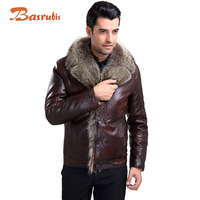Men Brand Luxury Winter Men's Real Leather Jacket  Fur Lined Leathers Jackets Genuine Leather Jacket Men Sheepskin Coat