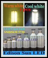 Free shipping 1 pcs E27 E14 B22 12W 15W 25W 30W 40W 50W SMD 5630 5730 LED corn light bulb lamp LED spotlight downlight lighting