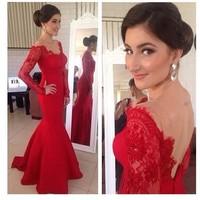 2014 New Vestido De Festa O Neck  Long Sleeve Backles Beading Mermaid Red Evening Dresses Satin Prom Party Dress