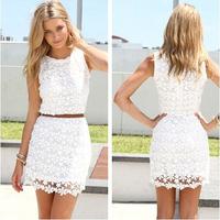 2014 Summer Sleeveless O-neck Slim Package Hip Lace Vest White Dress Without Belt Crochet Vestidos Vestido De Renda Branco