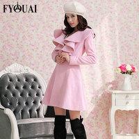 FYOUAI Occident Womens Slim Woolen Coat 2014 Winter Women Parka Long Section Flouncing Design High Quality Women's Coat