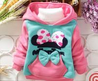 Free shipping 2014 baby girls hooded coat warm winter minnie outwears children jackets cartoon coat