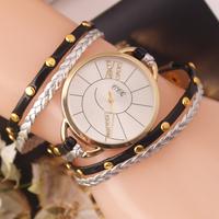 Newest Fashion Ladies Gold shell large dial Wristwatch Women long leather bracelet Dress watch Quartz watch