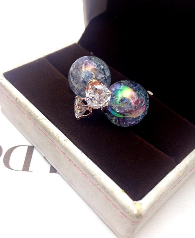 Newest Multicolor Earrings Statement Fashion Broken Beautiful Pearl Earrings Zircon Double Stud Earrings Women Party Jewelry