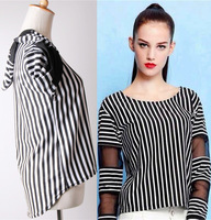 Gauze patchwork T-shirts Long-sleeve o-neck cotton t shirt Cotton 2014 New CHIC! W4383