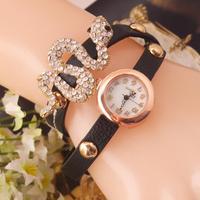 New Fashion Lady Punk Shining Crystal Snakes Watch Women Long Leather bracelet watch Dress watch Free shipping