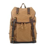 2014 New Canvas Bag fashion vintage backpack leisure travel big bag men canvas bag genuine leather free shipping