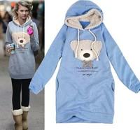 Drop Ship 2013 New Casual Lady Sweatshirt Long Top Pullover Winter Coat Women's Coat Hoodie Cute Teddy Bear Hot Sale