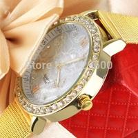 2014 New Fashion Watch Women Dress Watches gold Analog Quartz Ladies Rhinestone Wristwatches