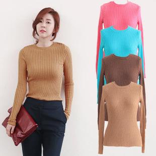 Женщины топы шеи экипажа с длинным рукавом трикотажные ребристые пуловеры свитер ...
