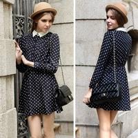 New Casual Womens Elegant Chiffon Dress Girls Spring Polka Dot Button Long Sleeve Dress S/M/L Black/White/Navy Blue