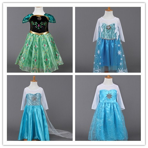 Гаджет  Wholesale - 2014 fall long sleeve fall frozen dresses Costume party dresses girl dress Anna and Elsa Kids and baby dress None Детские товары