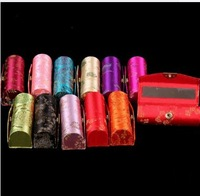 Lipstic case silk Chinese style brocade lipstick cases lips box with mirror many colors wholesale high quality Free Shipping