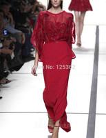 Sexy Graceful High Street Appliqued Sequin Red/Black Flare Sleeve Bridal Dress Vestido de festa longo