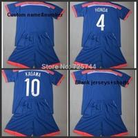 Embroidery Logo 2014 Japan Home Kids Blue Soccer Jersey,HONDA KAGAWA youth Shirt+Shorts