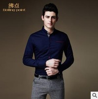 2014 New Fashion Personality Buttons Men's Dress Shirt High Quality cotton Long-Sleeved Casual male Shirt  M-4XL size plus size