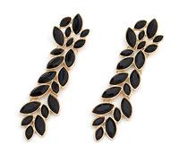 Sparkling Rhinestone Drop Earrings Elegant Leaf Dangle Earrings Fashion Party Jewelry Black / Clear Statement Earrings  BJE6233