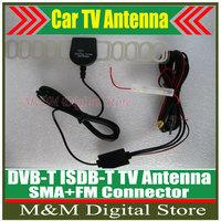 Hot Sale!!! Car Digital DVB-T ISDB-T TV Antenna Car TV Antenna ANT29db 2 In 1 Booster Antenna Aerial SMA+FM Radio Antenna