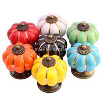 14 pcs 7 Color Ceramic Pumpkin Shape Door Drawer Dresser Pull Knobs Cabinet Cupboard Handle