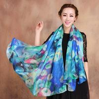 2014 Winter Fashion Women's Scarf Hot Sale Mulberry Silk Scarves Shawl Female Long Silk Scarf Blue and Coffee