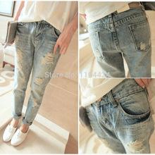 Venta caliente 2014 mujeres pantalones lápiz Casual Moda Vintage Loose Hole Jeans Roll-Up All -Match Harem(China (Mainland))